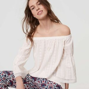 Loft Daisy Embroidered Off Shoulder Top Size L